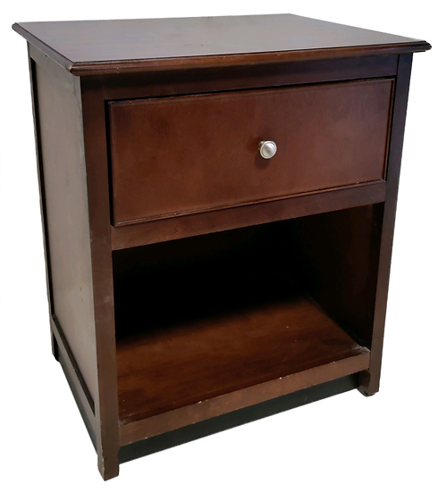 wood nightstand with one shelf and one drawer with round silver pull shorter diagonal front view