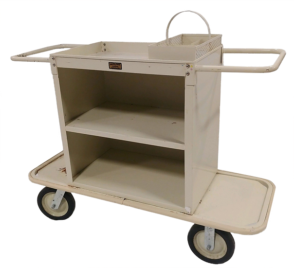 cream colored metal housekeeping cart with shelves side view