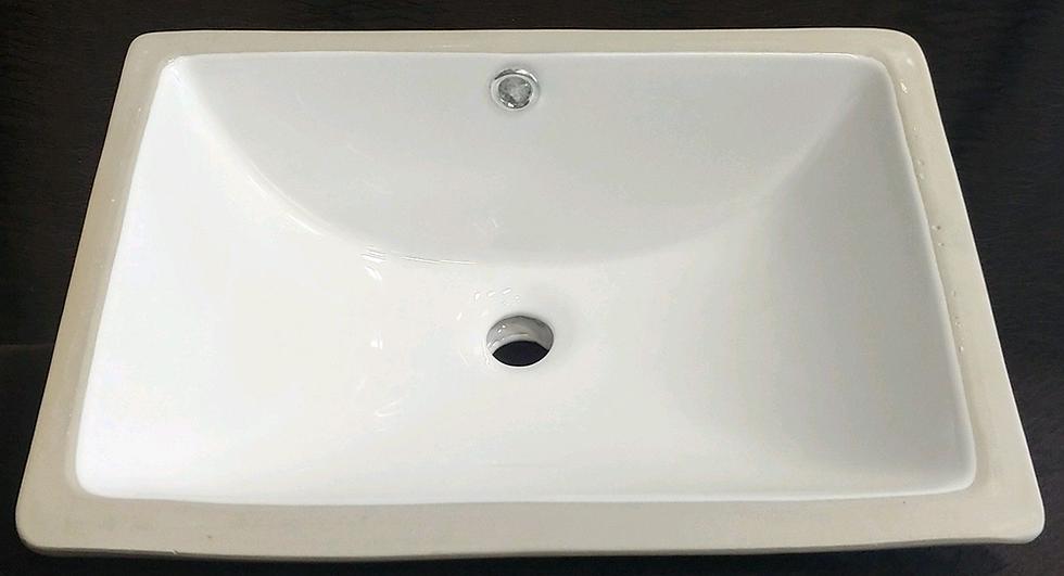 porcelain sink top view