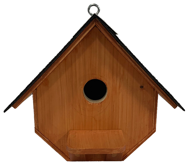 wooden birdhouse front view