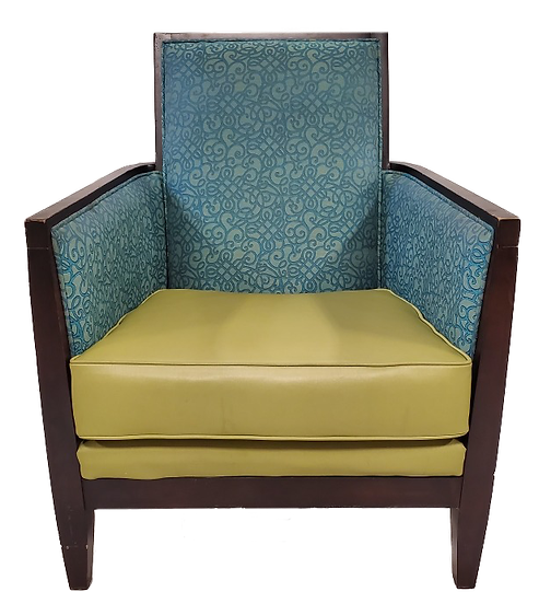 armchair with green seat and blue back and sides with wood legs and arms front view