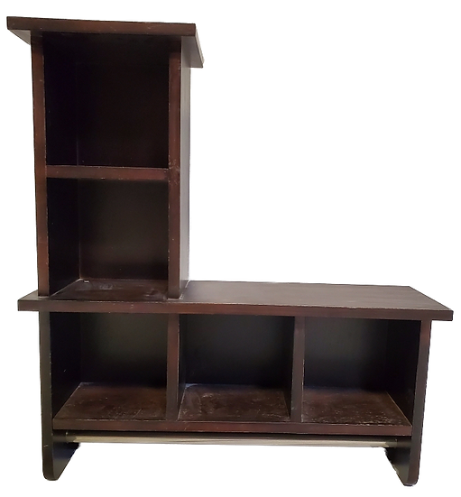 wooden cubby with 3 vertical shelves next to two horizontal shelves