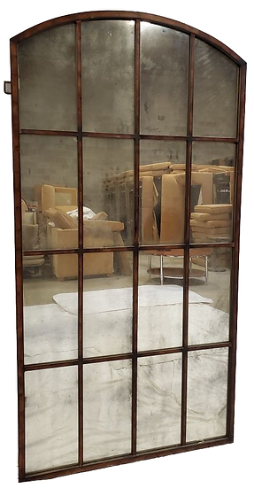 large decorative mirror with panes, rectangle with curved top front view