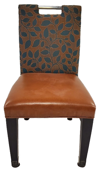 green and brown dining chair with leaf print back front view