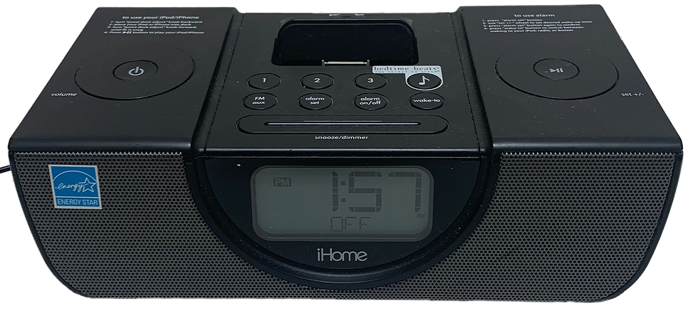 black home clock radio front view