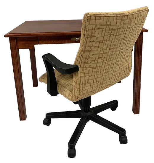 brown desk with small drawer and yellow red line pattern task chair with black arms and legs facing the desk