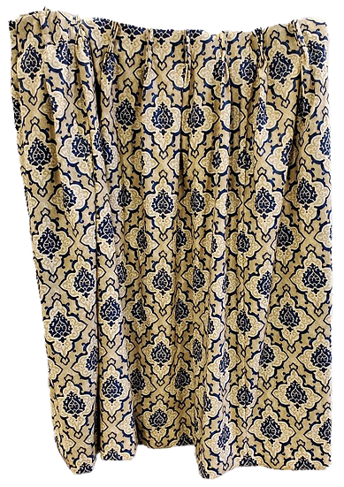 yellow and blue pattern drapes