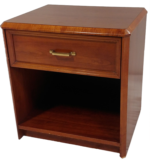 small wood nightstand with one drawer and shelf side view