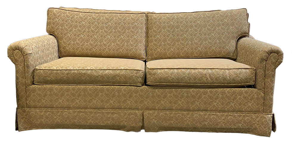 front view diamond floral pattern yellow and tan couch