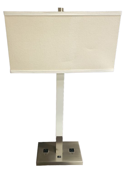 thin metal lamp with white shade front view