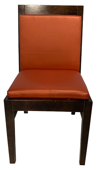 orange chair with brown frame and legs front view