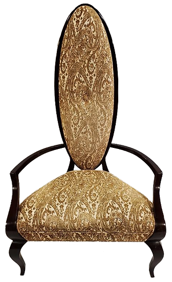wood and gold cloth with paisley print tall royal chair with oval back front view