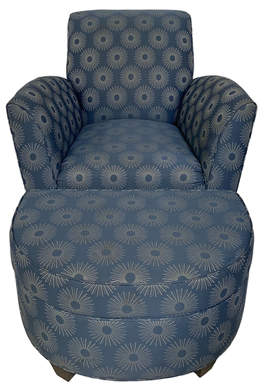 blue chair and ottoman with sun burst print front view