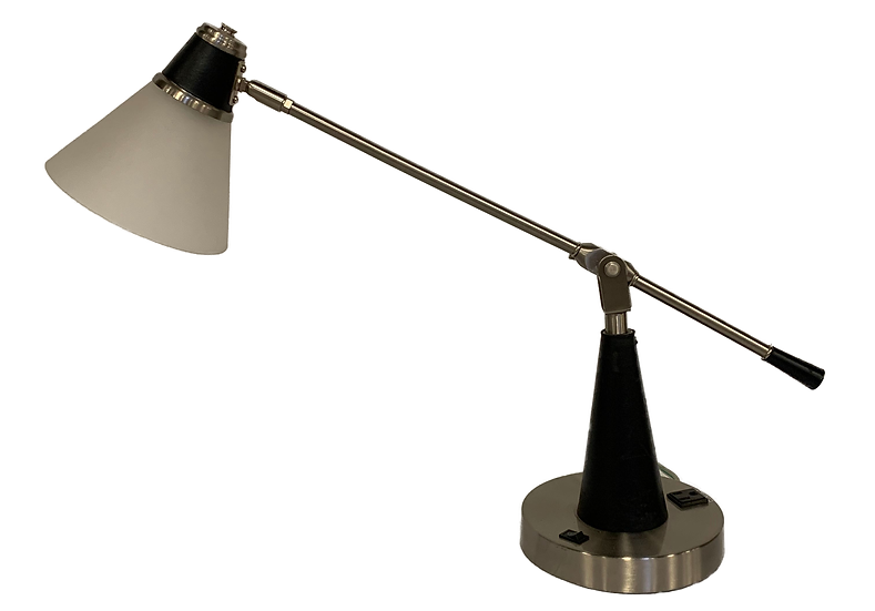 metal desk lamp with white shade