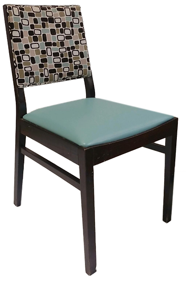 wooden dining chair with teal blue seat and brown, tan and blue square pattern on back, diagonal front view