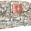 french cafe patterned sofa in pastel colors with 3 throw pillows, 2 on each side of pattern and one pink one in middle front