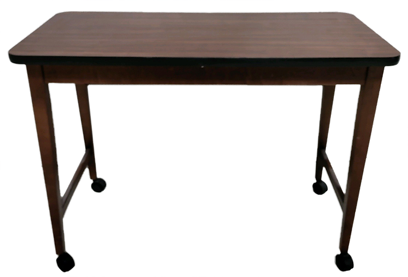 wood desk/table with metal legs on wheels side view