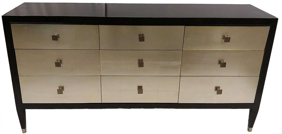 dark wood dresser with nine silver drawers with square pulls front view