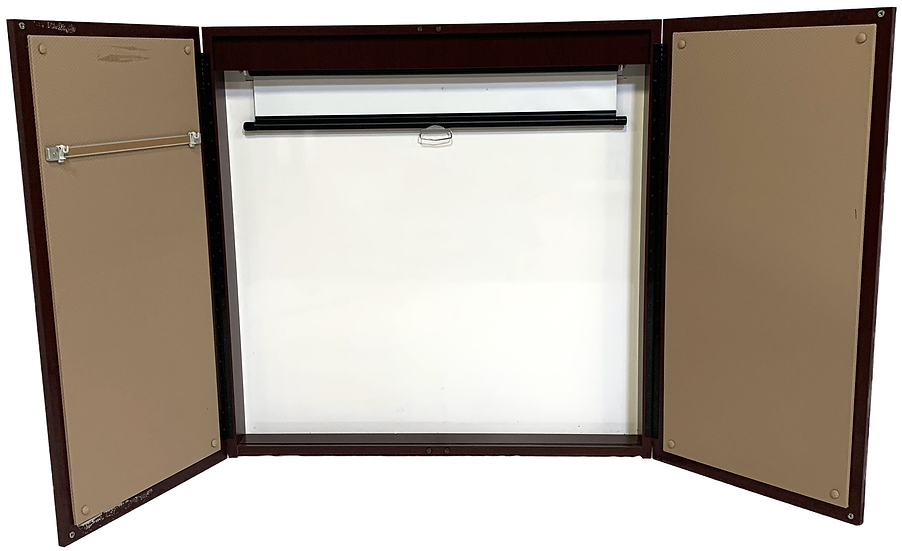 dry erase presentation board with cork sides and pull down screen