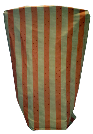 orange and green vertical striped drapes with polka dots