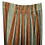 orange and green vertical striped drapes with polka dots close up