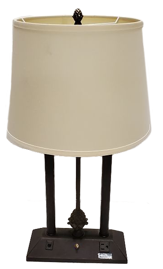 metal table lamp with outlet on base and white shade