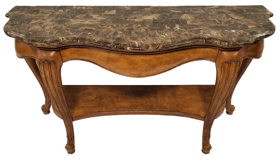 fancy wood sofa table with marble top