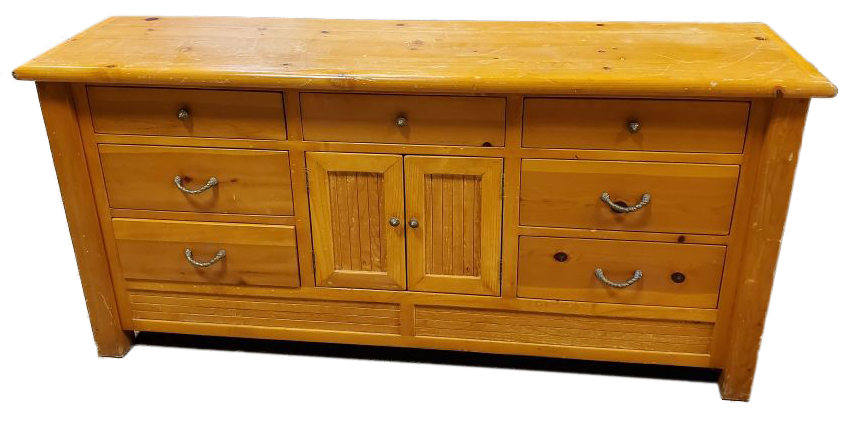 light wood butcher block cabinet with seven drawers and doors front view
