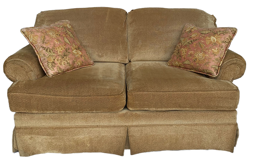gold loveseat with two pillows front view