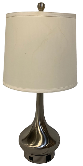silver table lamp with round base