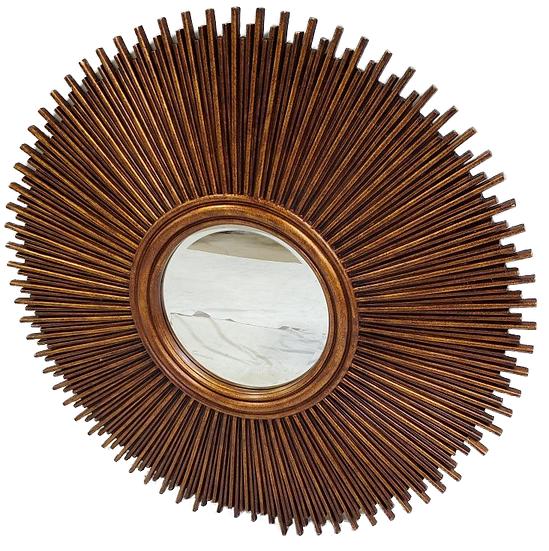 Large round bronze sun mirror front view