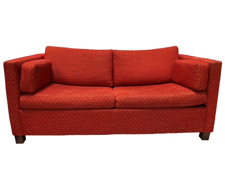 front view red pull out sofa