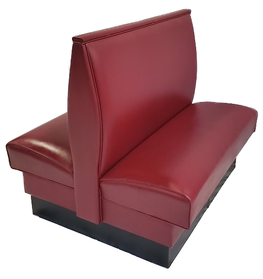 red double sided vinyl banquette seating diagonal side view