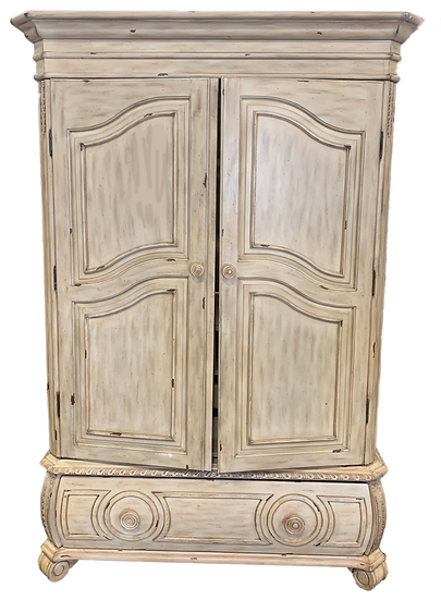 light distressed wood armoire