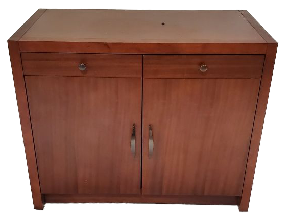 wood cabinet with two drawers and two cabinets closed front view