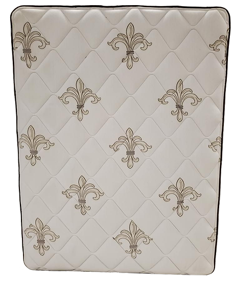 white mattress with beige fleur-de-lis pattern standing up front view