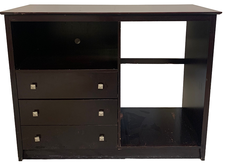 dark wood dresser with three drawers and opening on top, opening on side for mini fridge
