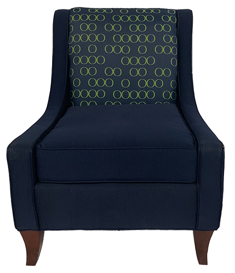navy blue chair with green circle print on back