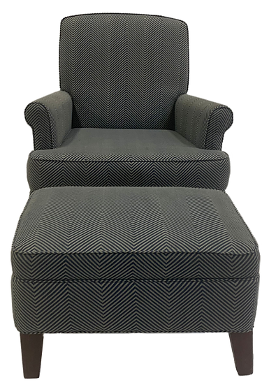 blue and tan geometric line pattern comfort chair with ottoman in front front view