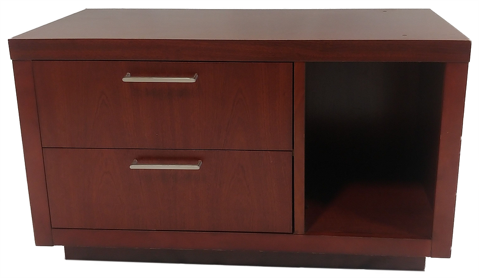 two drawer dresser with shelf opening front view