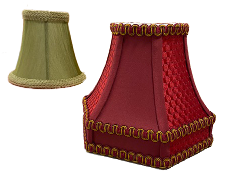 green mini lamp shade in back red and gold in front