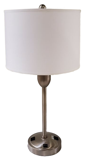 metal table lamp with round base and outlets on base