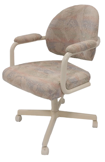 cream colored task chair with pastel pattern on seat and back side view