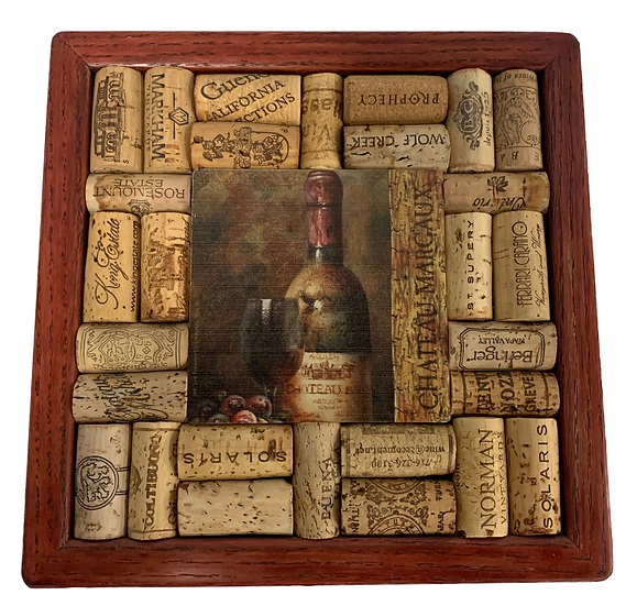 trivet with a border of wine corks and picture of bottle of wine in the center