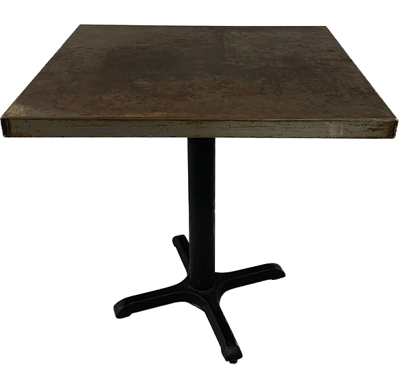 distressed looking metal pedestal table front view
