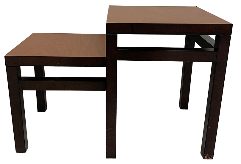 two-tier brown wooden table front view