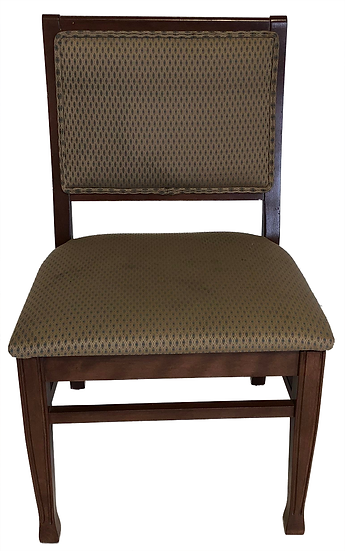 wood dining chair with cloth seat and back with brown and gold diamond pattern front view