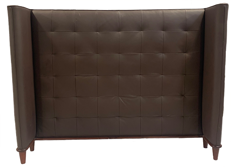 large dark brown faux leather king headboard front view