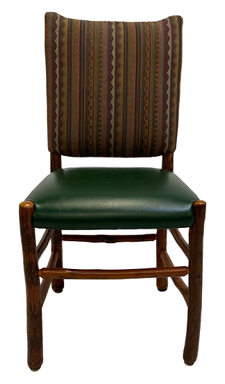 front view dining chair colorful pattern pack green vinyl seat brown legs