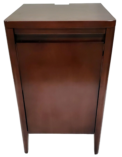 dark wood cabinet with door closed front view